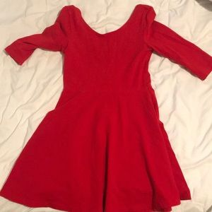 Express red fit n flare dress